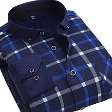 秋冬男士加绒加厚衬衫休闲格子保暖