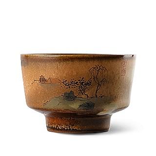 景德镇柴烧手绘单杯主人杯陶瓷茶具配件