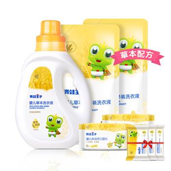 天猫青蛙王子 婴儿洗衣液4斤 送洗衣皂120g*3块