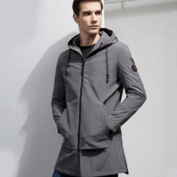 天猫Romon 罗蒙 青年纯色中长款休闲夹克